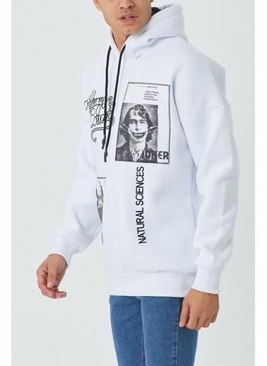 XHAN Haki Baskılı Nakışlı Sweatshirt 1Kxe8-44330-09 Beyaz